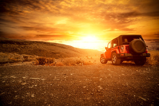 Autumn car and sunset time