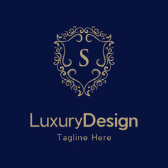 Letter S Luxury Shield Frame Creative Business Logo
