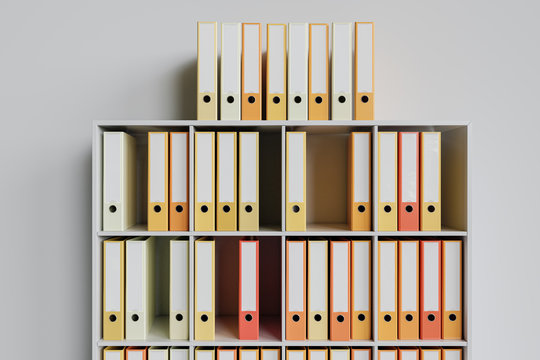 Cluttered shelf with colorful folders as 3d Rendering