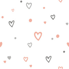 Vector cute romantic seamless pattern with doodle cartoon hearts. Kids or girls background