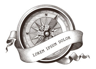 Antique engraving illustration of vintage compass with banner clip art isolated on white background,The symbol of sea
