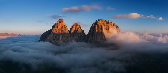 Morning Glory Aerial view of Grohmann spitze, Dolomites, Italy