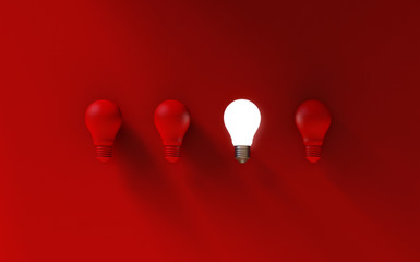 Light bulbs on red background. Idea concept. 3D Illustration.