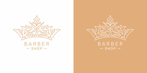 The original linear image of the crown. Illustration in simple flat style. Sign for barber shop.