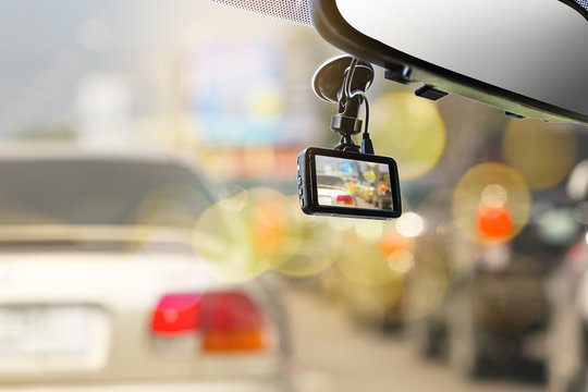 CCTV car camera for safety on the road accident.