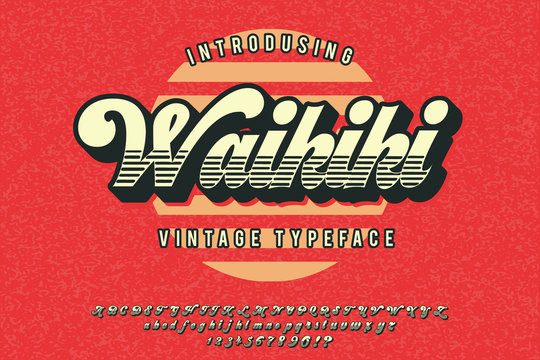 Waikiki. Retro poster. Summer style. Vintage script typeface. Retro 3d font in 80s style. Vintage typography.