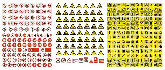 set of mandatory sign, hazard sign, prohibited sign, occupational safety and health signs, warning signboard, fire emergency sign. for sticker, posters, and other material printing. easy to modify.  Wall mural