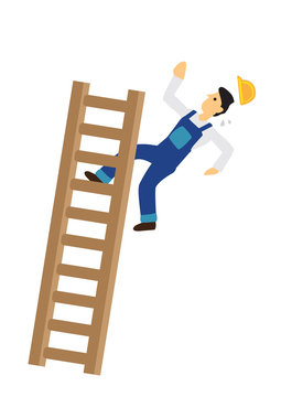 Construction worker falling down from the ladder. Concept of work accident.