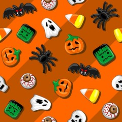 Fotobehang Draw Halloween Spooky Candies Party Seamless Vector Textile Pattern