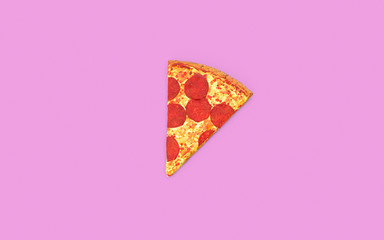 Slice of Pizza On Pink Background with Copy Space