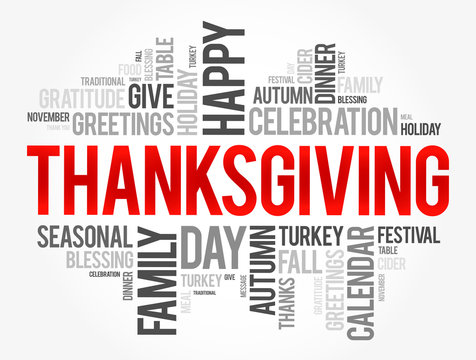 Thanksgiving word cloud collage, holiday concept background
