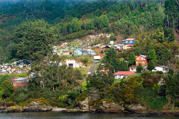 View of Corral, a small town in the river mouth of Valdivia River, Region de Los Rios, Chile