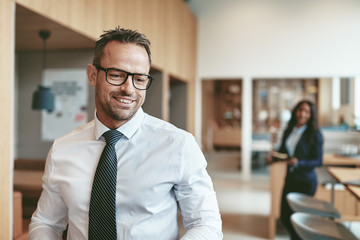 Mature businessman smiling while working in a modern office