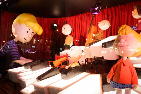 New York, New York, USA - November 24, 2015: One of the Charlie Brown themed display windows at Macy's Herald Square Flagship store in Manhattan.