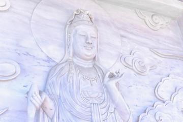 Carved Guan Yin Statue on Wall at Linh Ung Pagoda, Da Nang