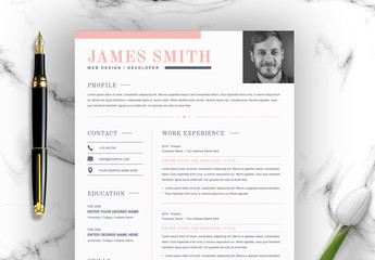 Resume Layout with Pink Accents
