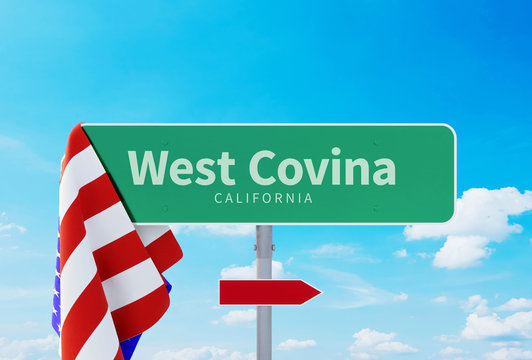 West Covina – California. Road or Town Sign. Flag of the united states. Blue Sky. Red arrow shows the direction in the city. 3d rendering