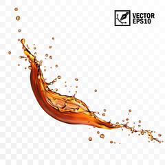 Fototapeta Realistic transparent isolated vector falling splash of tea, coffe or cola