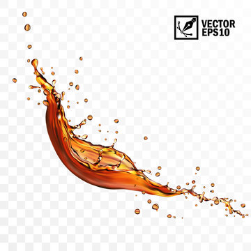 Realistic transparent isolated vector falling splash of tea, coffe or cola