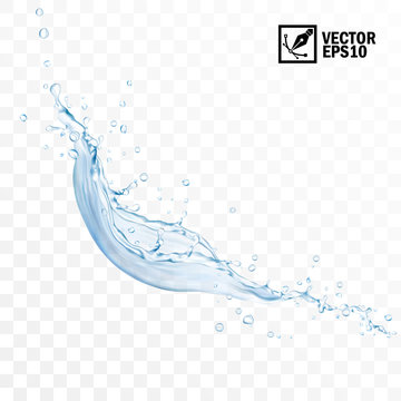 Realistic transparent isolated vector falling splash of water with drops, editable handmade mesh