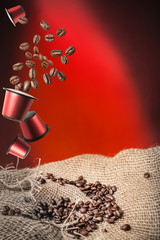coffee capsule and coffee beans
