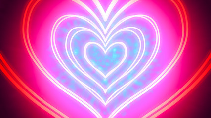 Tunnel of neon hearts - heart-shaped neon tube-like light objects, that are hovering amid a fanciful environment  - digitally generated image