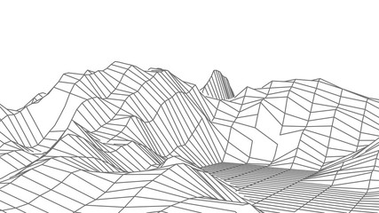Wireframe 3D landscape mountains. Wireframe landscape wire. Cyberspace grid. Vector illustration. Wall mural