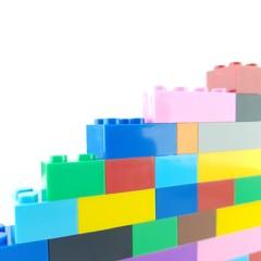 Isolated white background playing toy blocks