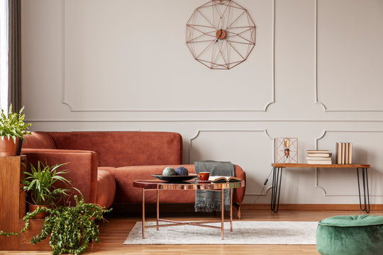 Brown comfortable corner sofa in elegant living room interior with grey wall with molding and fancy clock