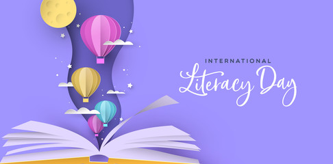 Literacy Day open book papercut hot air balloon