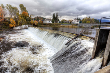 Dam and fall foliage in Wilmington, New York