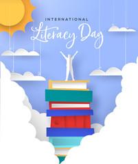 Literacy Day card man in papercut book mountain