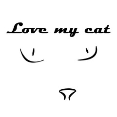 cat eye and nose. simple vector line background
