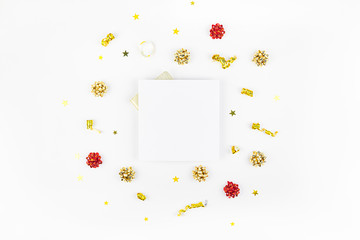 Christmas composition with golden frame