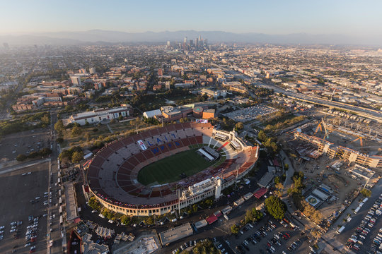 Aerial view of the historic Los Angeles Memorial Coliseum Stadium, USC and downtown LA on August 7, 2017 in Los Angeles, California, USA.