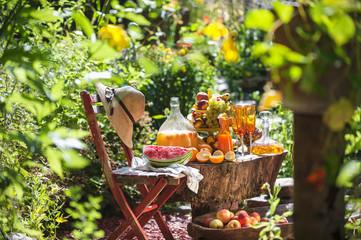 Austria, Salzburg, Fruits and juices in garden