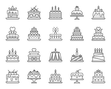 Cake Dessert simple black line icons vector set