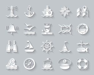 Marine simple paper cut icons vector set