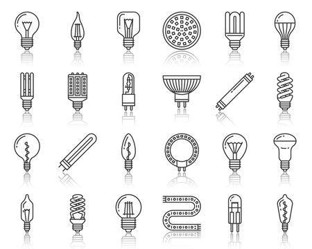Light Bulb lamp simple black line icons vector set