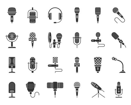 Microphone shape black silhouette icons vector set