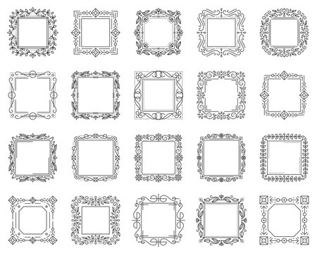 Text square frame simple black line vector set