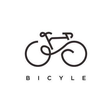 Bicycle logo design. Bicycle line art vector design. Bicycle parts logotype