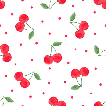 Seamless cherry pattern. Vector watercolor illustration.