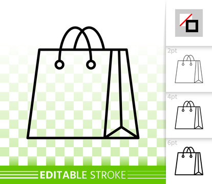 Shopping Bag simple black line package vector icon