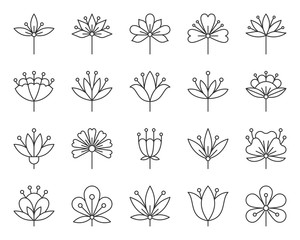 Abstract Flower simple black line icons vector set