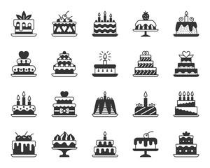 Cake Dessert black silhouette icons vector set