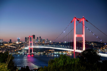 Istanbul bosphorus bridge at night