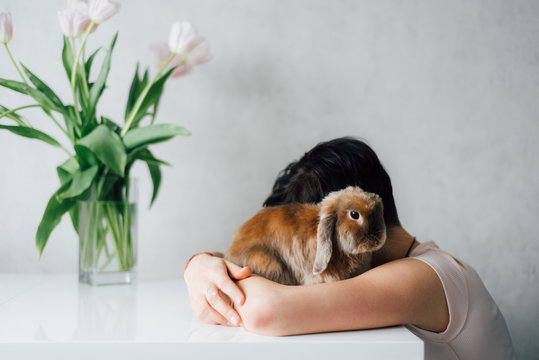 Woman embracing hare at table