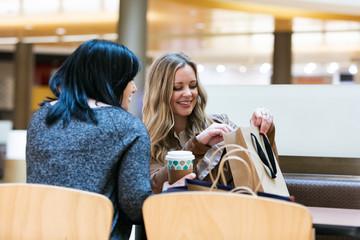 Mall: Women Friends Relaxing In Food Court