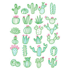 Cute hand drawn vector cactus without pots color outlined illustration. Set of cute hand drawn green line cacti with pink flowers.
